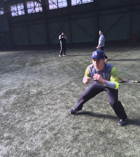 永江選手 栗山チームキャップ 着用