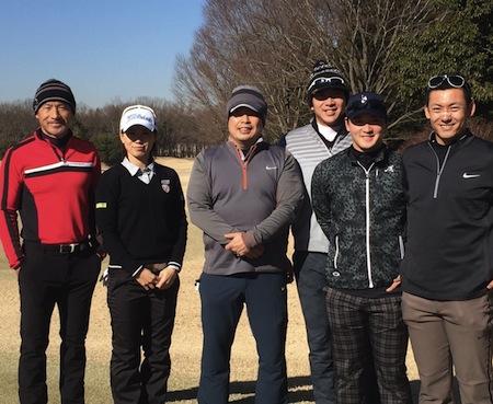 左より丸山コーチ、井上プロ、私、上本選手、永江選手、栗山選手