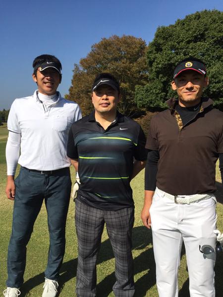 左から、上本選手、私、栗山選手
