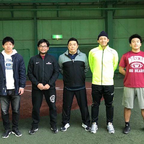 左から早稲田大アメフト部高根選手、櫻井コーチ、わたし、栗山選手、RB元山選手
